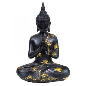 Thaise Boeddha Beeld Mediterend Polyresin Zwart - 17 x 10 x 23 cm