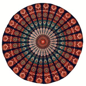 Blauw-Oranje Strandlaken Mandala