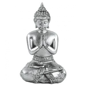 Thaise Boeddha Beeld Mediterend Polyresin Zilverkleurig - 8 x 6 x 12 cm