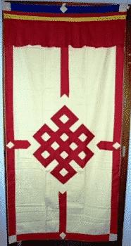 Tibetaans Deurkleed Rood-Ecru