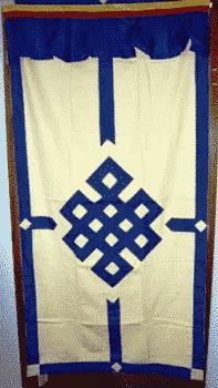 Tibetaans Deurkleed Blauw-Ecru