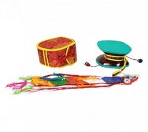 Mystieke Rituele Drum (Damaru) met Rode Tas