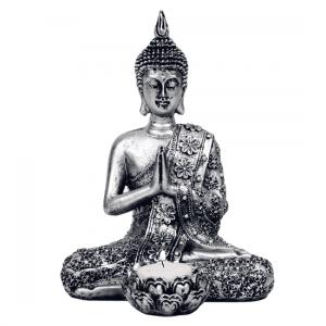Boeddha met Kaarshouder Zilverkleurig (20,5 cm)