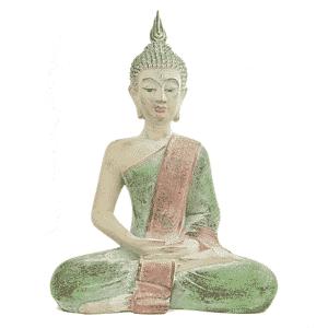 Thaise Boeddha Beeld  Mediterend Groen - 33 x 19 x 43 cm