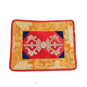 Klankschaal-Altaarkleed Dorje Brokaat (Rood-Geel)