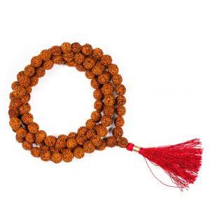Mala Rudraksha 108 Kralen Met Rode Kwast (0,8 cm)