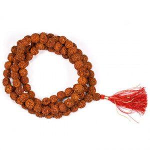 Mala Rudraksha 108 Kralen Met Rode Kwast (1,1 cm)