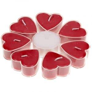 Fair Trade Hartvormige Geurkaarsjes Roos (Set van 7 + 1)