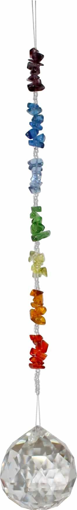 Hangend Kristal met Glazen Chakra Steentjes