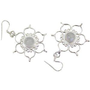 Sterling Zilveren Oorbellen -  Regenboog Maansteen met Lotus