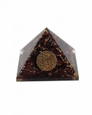 Orgonite Piramide Granaat - Bloem des Levens - (40 mm)