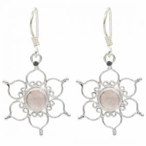 Oorbellen Lotus - 925 zilver met Rozenkwarts