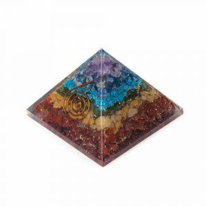Orgonite Piramide 7 Chakra - Koperen Spiraal - (70 mm)