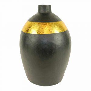 Terracotta Vaas Zwart met Gouden Band