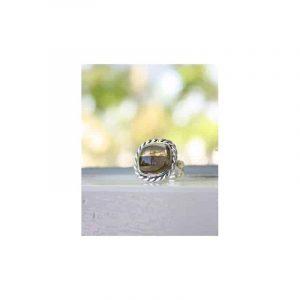 Zilveren Ring Rookkwarts met Parel