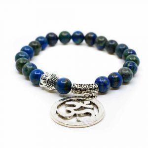 Edelsteen Armband Azuriet met OHM/ Boeddha