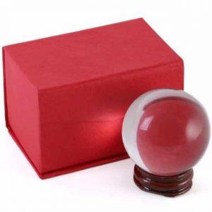 Kristallen Bol met Houten Standaard (5 cm)