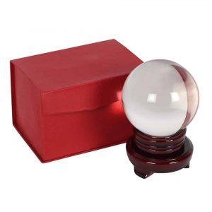 Kristallen Bol met Houten Standaard (10 cm)