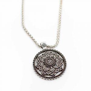Tibetaanse Mandala OHM Ketting - Zilverkleurig