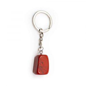 Sleutelhanger Rode Jaspis Zilverkleurig
