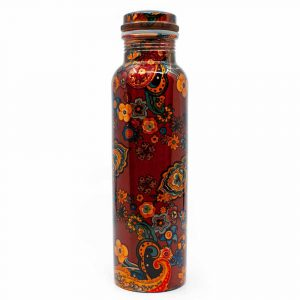 Spiru Koperen Waterfles Orange Flowers geprint - 900 ml
