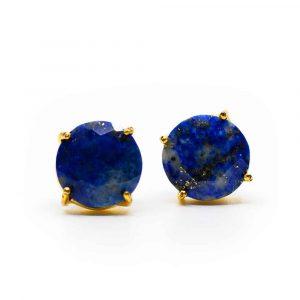 Edelsteen Oorstekers Lapis Lazuli - 925 Zilver & Verguld