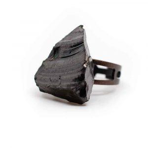 Shungiet Edelsteen Ring Verzilverd