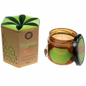 Geurkaars van Soja Was Organic Goodness Patchoeli Vanille