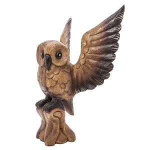 Houten Beeld Uil met Open Vleugels (40 cm)