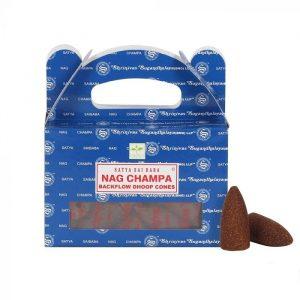 Satya Backflow Wierook Kegels Nag Champa (24 kegels)