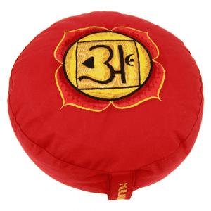 Yogi & Yogini Meditatiekussen Rond Katoen Rood - 1e Chakra Geborduurd - 33 x 17 cm