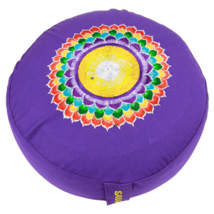 Yogi & Yogini Meditatiekussen Rond Katoen Violet - 7e Chakra Geborduurd - 33 x 17 cm