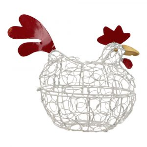 Metalen Eierenmand Kip IJzerdraad Antiek Wit