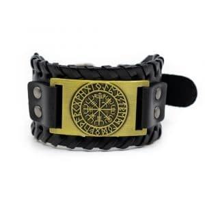 Viking Verstelbare Armband Runenkompas Kunstleer