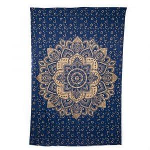 Authentiek Mandala Wandkleed Katoen Blauw/ Goudkleurig (215 x 135 cm)