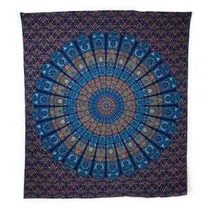 Authentiek Mandala Wandkleed Katoen Blauw/ Oranje (240 x 210 cm)