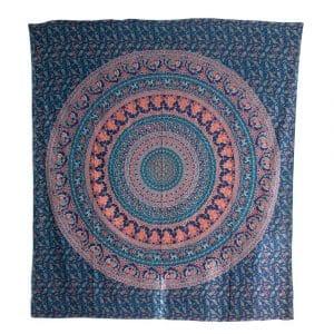 Authentiek Wandkleed Katoen Blauw Dierenrijk Mandala (240 x 210 cm)
