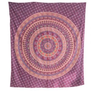 Authentiek Wandkleed Katoen Paars Dierenrijk Mandala (240 x 210 cm)