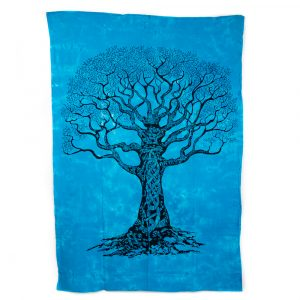 Authentiek Wandkleed Katoen Tree of Life Blauw (215 x 135 cm)