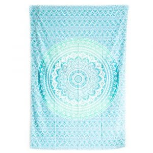 Authentiek Wandkleed Mandala Katoen Groen/ Blauw (215 x 135 cm)