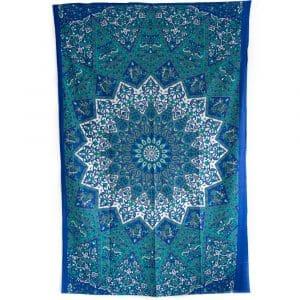 Authentiek Mandala Wandkleed Katoen Blauw/ Wit (215 x 135 cm)