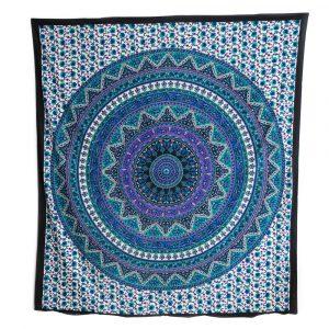 Authentiek Mandala Wandkleed Katoen Blauw/Paars met Bloemen (240 x 210 cm)
