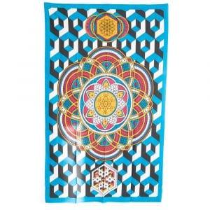 Authentiek Mandala Wandkleed Katoen Geometrische Vormen (215 x 135 cm)