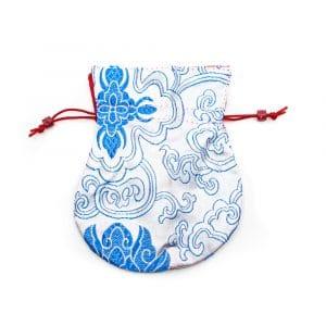 Brokaattasje Handgemaakt - Wit / Blauw