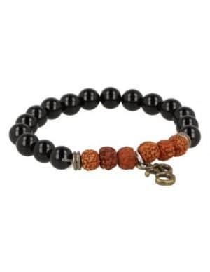 Armband Obsidiaan / Rhudraksha met Ohm-Bedel
