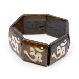 Houten Armband met Vierkante Kralen OHM