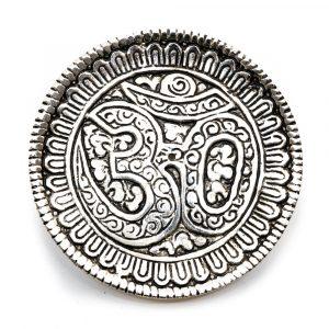 Zilverkleurige Wierookbrander Ohm Messing (85 mm)